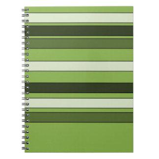Grün-grünes horizontales Streifen-Muster elegant Spiral Notizblock