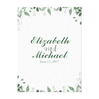 Grün-Hochzeitguestbook-Leinwand-Druck Leinwanddruck