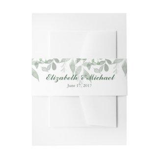 Grün-Hochzeits-Einladungs-Bauch-Band-Schablone Einladungsbanderole