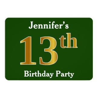 Grün, Imitat-Gold13. Geburtstags-Party + Karte