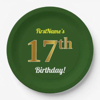 Grün, Imitat-Gold17. Geburtstag + Individueller Pappteller