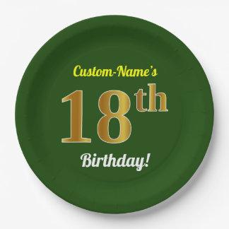 Grün, Imitat-Gold18. Geburtstag + Individueller Pappteller