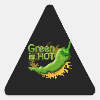 Grün ist HEISS Dreieckiger Aufkleber