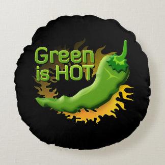 Grün ist HEISS Rundes Kissen