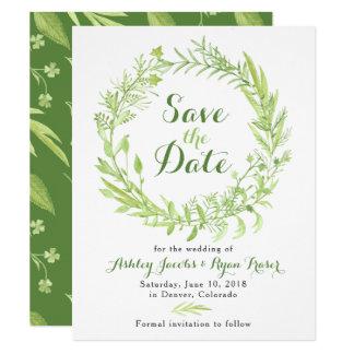 Grün-Klee, der Save the Date Wedding ist Karte