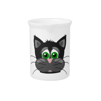 Grün-mit Augen schwarze Katze Getränke Pitcher