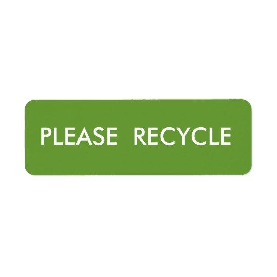 Grün recyceln einfaches warnendes Verschiffen Rücksendeetiketten