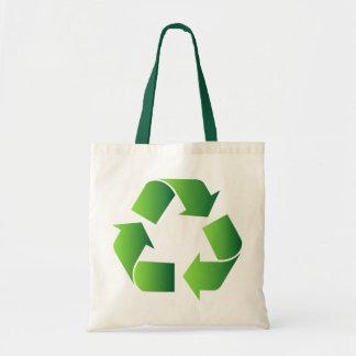 Grün recyceln Symbol Leinentasche