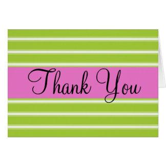 Grün-Streifen und Rosa danken Ihnen Karte