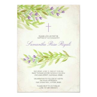 Grün-Taufe laden Lavendel-Blumen ein Karte
