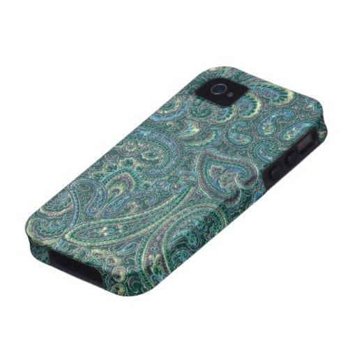 Grün tont Vintages verziertes Paisley-Muster Vibe iPhone 4 Hüllen