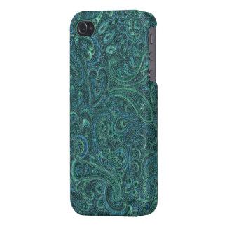 Grün tont Vintages verziertes Paisley-Muster iPhone 4 Cover