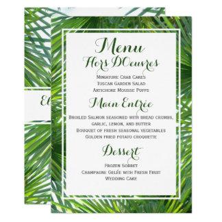Grün-tropische Hochzeits-Menü-Karte 12,7 X 17,8 Cm Einladungskarte