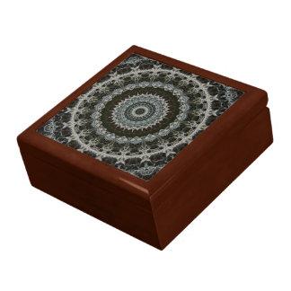 Grün u. Brown-Mandala Fliesespitze Holzkasten Schmuckschachtel
