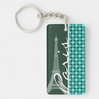 Grün u. Türkis-Eiffelturm Schlüsselanhänger