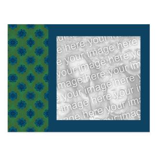 Grün und aquamariner Blumenmuster-Fotorahmen Postkarte