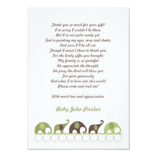 Grün und Brown-Elefant danken Ihnen, mit Gedicht 12,7 X 17,8 Cm Einladungskarte