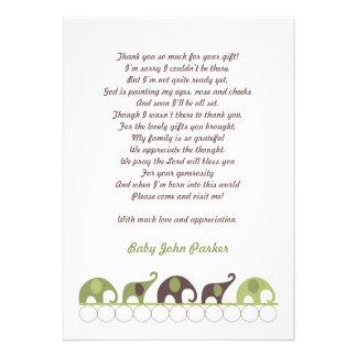 Grün und Brown-Elefant danken Ihnen mit Gedicht Personalisierte Ankündigungen