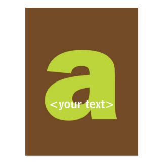 Grün und Brown-Monogramm - beschriften Sie A Postkarte
