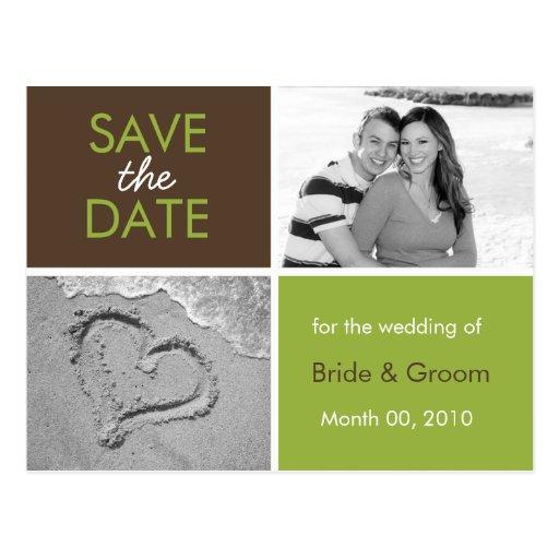 Grün und Foto-Postkarten Browns Save the Date