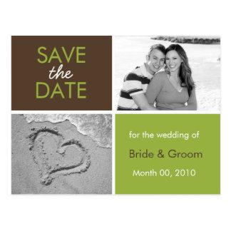 Grün und Foto-Postkarten Browns Save the Date Postkarten