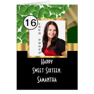 Grün und Gold personalisiertes 16. Geburtstag Karte