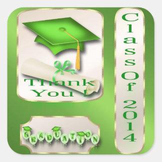 Grün und GoldAbschluss danken Ihnen Umschlag Quadrat-Aufkleber