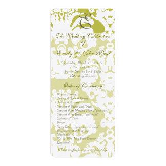 Grün-und Golddamast-Wirbel, der Programm Wedding Karte