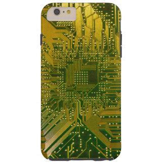 Grün und Goldelektronisches Rechnerschaltung-Brett Tough iPhone 6 Plus Hülle
