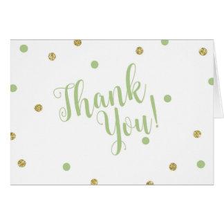 Grün und GoldGlitzer danken Ihnen Karten
