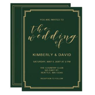 Grün und Goldhochzeit 12,7 X 17,8 Cm Einladungskarte