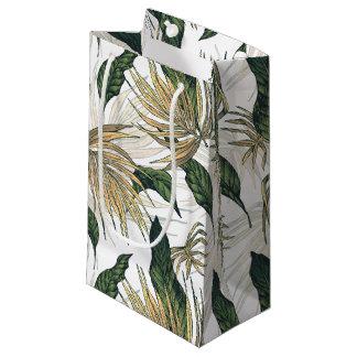 Grün und Goldtropisches Blätter Kleine Geschenktüte