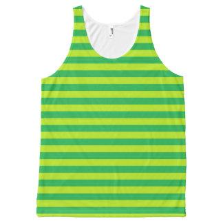 Grün und Limone grüne Streifen Komplett Bedrucktes Tanktop