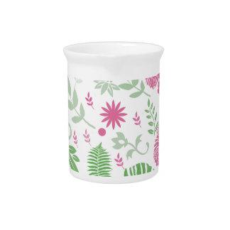 Grün und Rosa-Blätter und -Blumen Getränke Pitcher