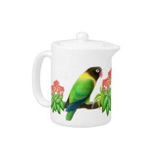 Grün verdeckte Lovebird-Teekanne