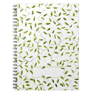 Grün verlässt Notizbuch Spiral Notizblock