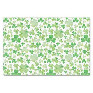 Grün-Wasserfarbe-Kleeblatt-Muster St. Patricks Seidenpapier