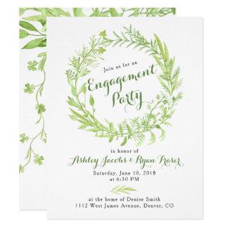 Grün Watercolo Wreath-Verlobungs-Party Karte