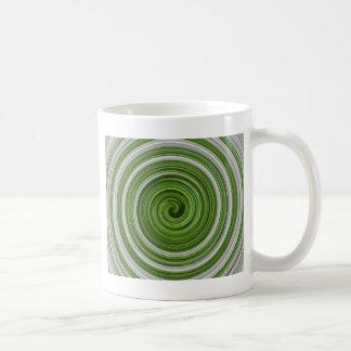 Grün-weißes spiralpattern kaffeetasse