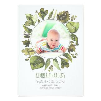 Grün winden gemalte neugeborene Baby-Foto-Geburt Karte