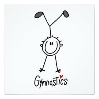 Grundlegende männliche Strichmännchen Gymast T - Quadratische 13,3 Cm Einladungskarte