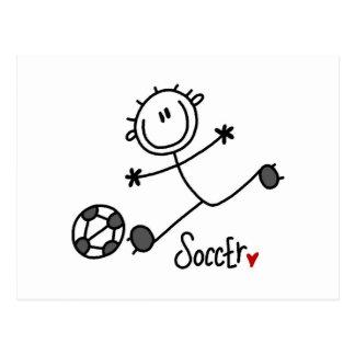 Grundlegende Strichmännchen-Fußball-Spieler-T - Postkarte