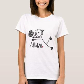 Grundlegende Strichmännchen-Volleyball-T-Shirts T-Shirt