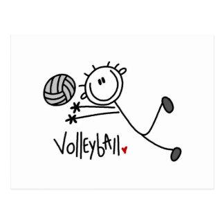 Grundlegender männlicher Strichmännchen-Volleyball Postkarte