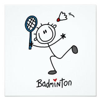 Grundlegendes männliches Strichmännchen-Badminton Personalisierte Ankündigung
