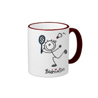 Grundlegendes männliches Strichmännchen-Badminton Ringer Tasse