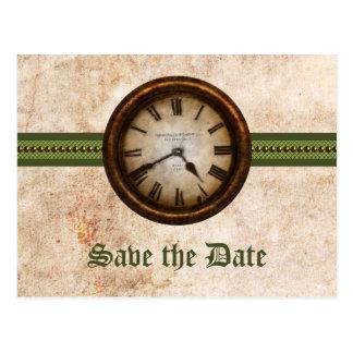 Grüne antike Uhr-Save the Date Postkarte