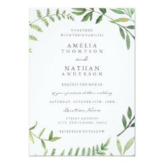 Grüne Aquarell-Blatt-Hochzeits-Einladung Karte