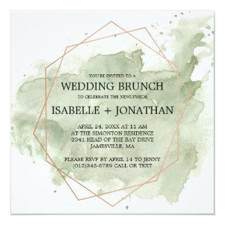 Grüne Aquarell Posten-Hochzeit Brunch-Einladungen Karte