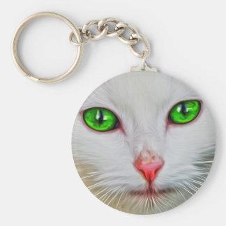 Grüne Augen-Katze Schlüsselanhänger